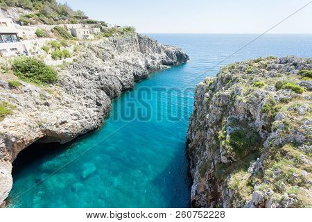 Apulia, Leuca, Italy, Grotto Of Ciolo - An Overwhelming View Upon The Famous Grotto