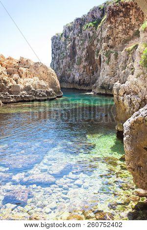 Apulia, Leuca, Italy, Grotto Of Ciolo - At The Bay Of Grotto Ciolo