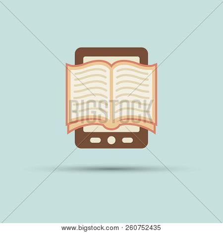 Open Book On Screen Tablet Vector Flat Icon, E Book, Book Reader