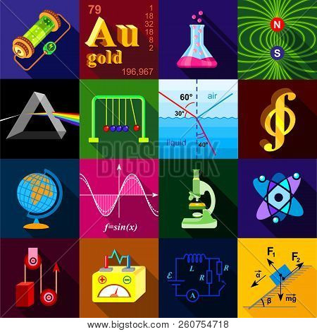 Science Research Icons Set. Flat Illustration Of 16 Science Research Icons For Web