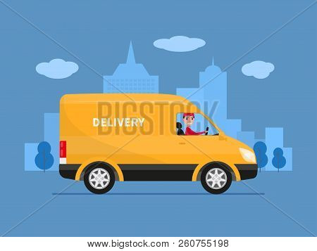 Vector Illustration Of Cartoon Delivery Van With Deliveryman. Yellow Truck Delivery Against The Back