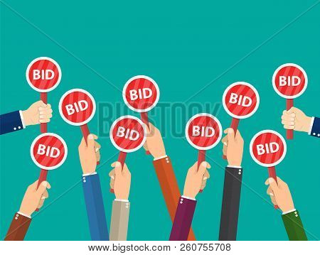 Hand Hold Paddle With Bid. Auction Meeting. Business Bidding Process Concept.template For Open Trade