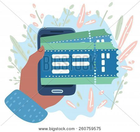 Vector Cartoon Illustration Of Concept Of Online Buy Cinema Ticket. Mobile Smartphone With The App T