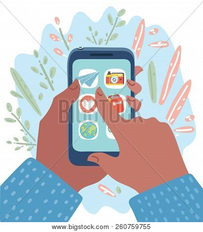 Vector Cartoon Illustration Of Hands With Smartphones With Apps On Screen. Online Shopping, Mobile P