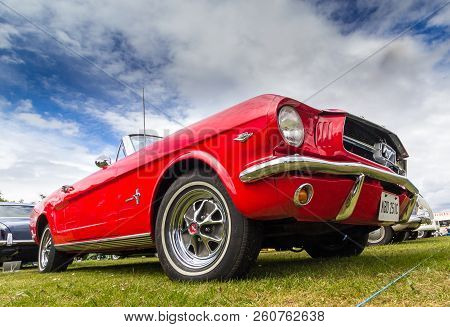 Tain, Scotland - June 17 2018: Classic Ford Mustang At A Vintage Car Rally