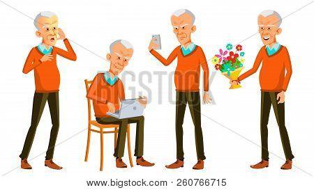 Old Man Poses Set Vector. Asian, Japanese, Vietnamese. Elderly People. Senior Person. Aged. Caucasia