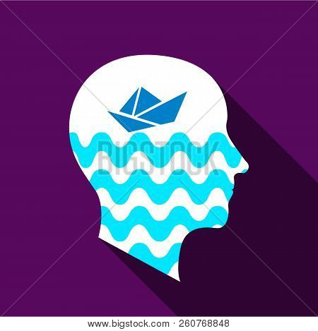 Dreaming Brain Icon. Flat Illustration Of Dreaming Brain Icon For Web