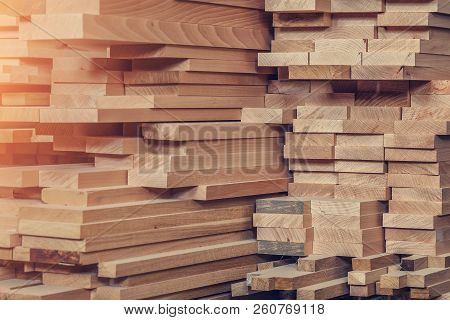 Wood Processing. Joinery Work. Wooden Furniture. Wood Timber Construction Material For Background An