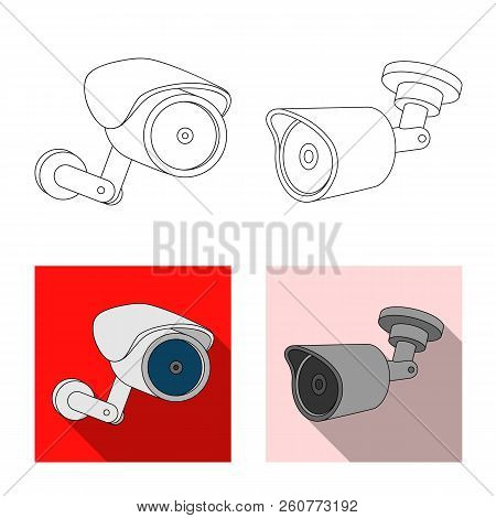 Vector Illustration Of Cctv And Camera Icon. Set Of Cctv And System Stock Symbol For Web.