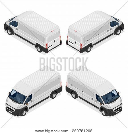 Commercial White Van Icons Set Isolated On A White Background. Flat 3d Vector Isometric Illustration