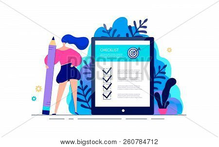 Business Woman Standing With Giant Pencil In Hand Near To Checklist On Tablet. Success Work Of Onlin