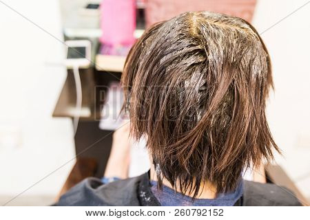 Person's Hair Covered With Chemical Hair Dye During Dyeing Process