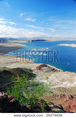 Lake mead panorama on Colorado River. Lake mead is the largest reservoir in the United States.