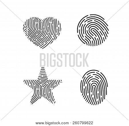 Set Of Vector Fingerprints. Set Of Black Vector Fingerprints Isolated On White Background. Fingerpri