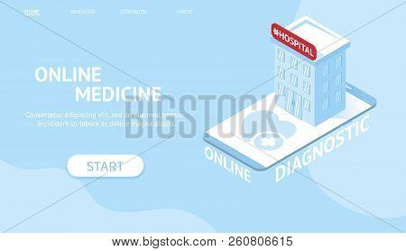 Modern Isometric Web Banner Concept For Online Diagnostic. Online Doctor Web Page, Healthcare Websit