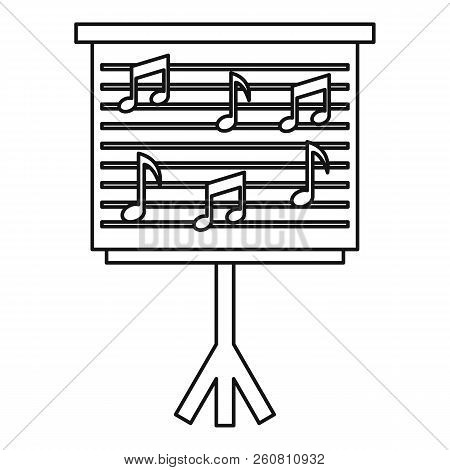 Musical Notes On Stand Icon. Outline Illustration Of Musical Notes On Stand Icon For Web