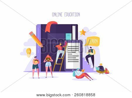 Online Education Concept. E-learning With Flat People Reading Books. Graduation University College C