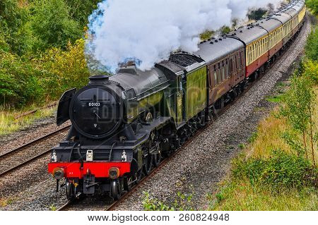 Chester, Uk - September 22nd 2018: Flying Scotsman Steam Train Passing Through The Welsh Countryside