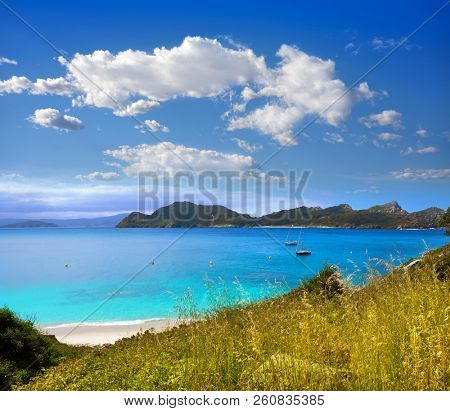 Islas Cies islands beach turquoise near Vigo of Galicia Spain