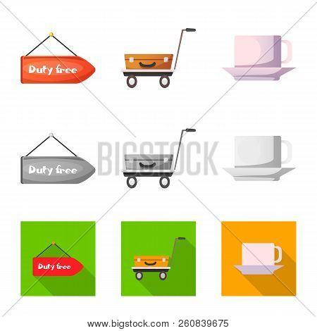 Vector Illustration Of Airport And Airplane Sign. Collection Of Airport And Plane Stock Symbol For W
