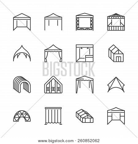 Tent Flat Line Icons. Event Pavilion, Trade Show Awning, Outdoor Wedding Marquee, Canopy Vector Illu