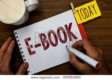 Writing Note Showing E Book. Business Photo Showcasing Electronic Version Of Printed Book Which Can