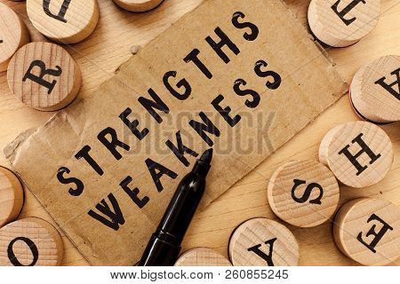 Handwriting Text Writing Strengths Weakness. Concept Meaning Opportunity And Threat Analysis Positiv