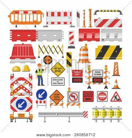 Road Sign Vector Traffic Street Warning And Barricade Blocks On Highway Illustration Set Of Roadbloc