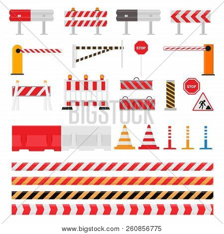 Road Barrier Vector Street Traffic-barrier Warning And Barricade Blocks On Highway Illustration Set