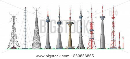Tower Vector Global Skyline Towered Antenna Construction In City And Skyscraper Building With Networ