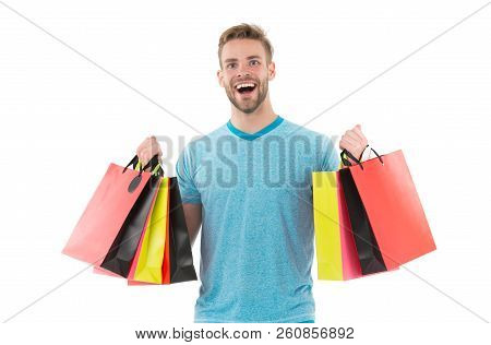 Positive Man Enjoying Shopping. Happy Man With Shopping Bags Isolated On White. Excited Happy Man Do