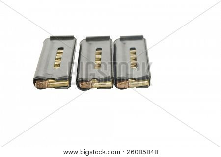 22 cal. mags isolated on white
