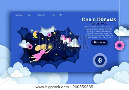 Vector Web Site Paper Art Design Template. Child Touching The Stars In The Sky. Kids Dream. Landing