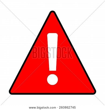 Red Warning Attention Caution Sign On White Background. Flat Style. Caution Icon Template Logo. Load