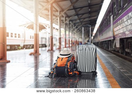 Tourist Belongings On Floor At Chiang Mai Train Station, Thailand