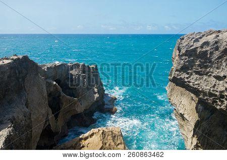 Punta Las Tunas Promontory At Cueva Del Indio Along North Coast Of Puerto Rico And Atlantic Ocean St