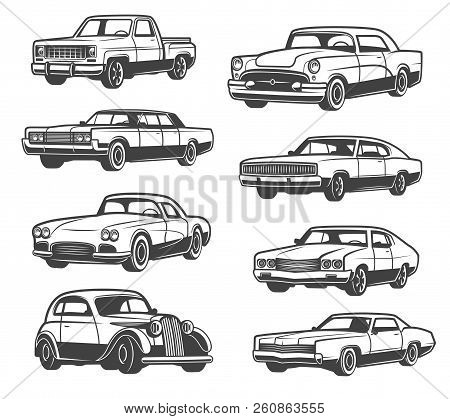 Retro Cars And Vehicle Types. Vector Isolated Icons Of Vintage Transport Taxi Cab, Sport Car Or Limo