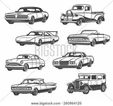 Retro Cars And Vintage Automobile Models. Vector Isolated Icons Of Antique Minivan Or Passenger Coac