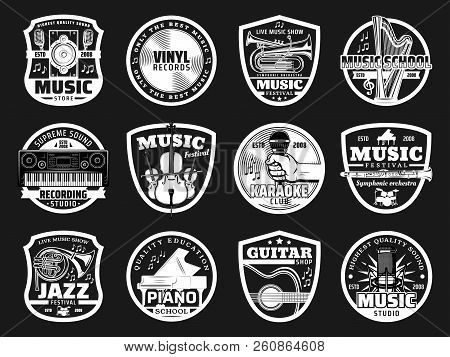 Music Icons For Recording Studio Or Record Label And Jazz Festival Or Karaoke Club. Vector Musical I