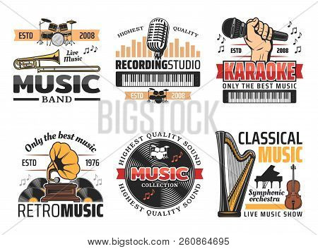 Music Instruments Icons For Karaoke Club, Live Music Show Or Band Concert And Festival Or Recording