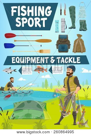 Fishing Sport Cartoon Poster Of Fisher Man With Equipment And Tackles. Vector Fisherman With Fish Ca