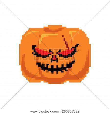 Pumpkin Halloween Pixel Art. Horror Symbol 8 Bit
