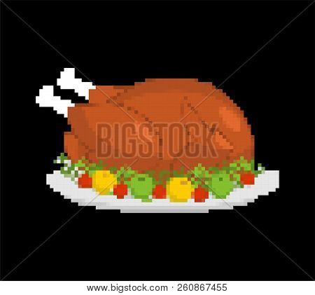 Turkey Pixel Art. Thanksgiving Day 8 Bit. Vector Illustration
