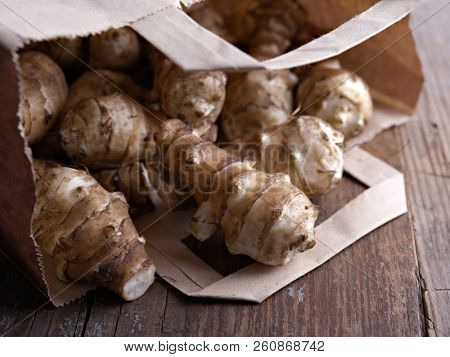 Jerusalem artichoke in a paper bag