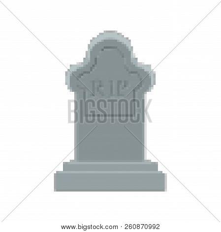 Rip Pixel Art. Tomb 8 Bit. Gravestone Halloween. Grave Cemetery Vector Illustration