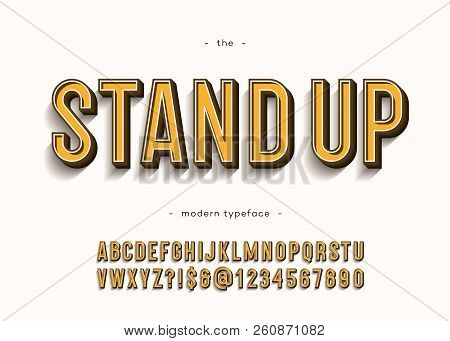 Vector Stand Up Alphabet Modern Typography Sans Serif 3d Bold Style For Book, Promotion, Poster, Dec