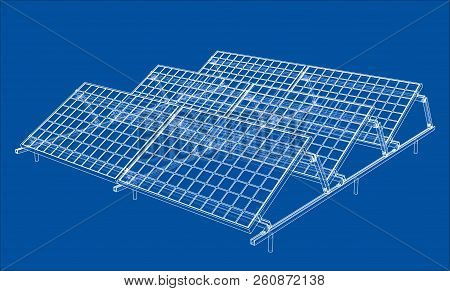 Solar Panel Concept. Vector Rendering Of 3d. Wire-frame Style. The Layers Of Visible And Invisible L