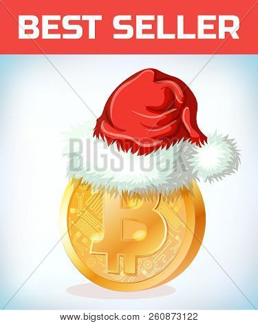 Bitcoin In Santa Claus Hat. Bitcoin. Digital Currency. Crypto Currency. Money And Finance Symbol. Mi