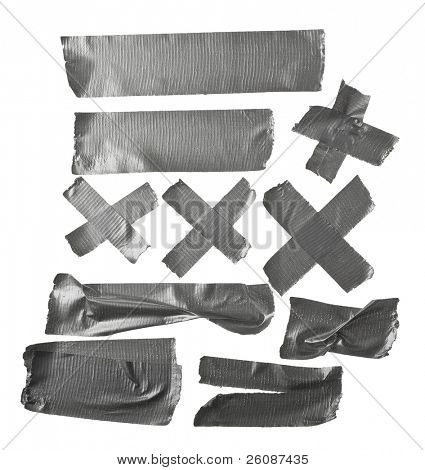 Different stripes of duct tape. All isolated on a white background.