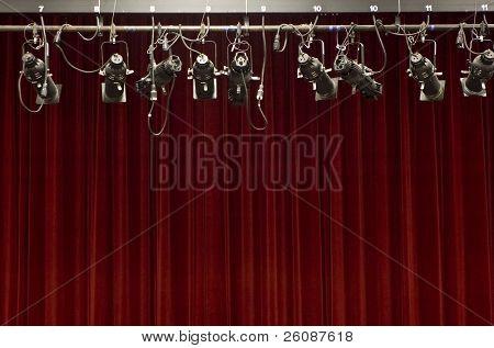 Cortina de palco com luzes de palco